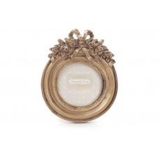 Рамка для фото настольная круглая 13.5см из искусственного камня Барокко, золото антик