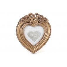 Рамка для фото настольная Сердце 13см из искусственного камня Барокко, золото антик