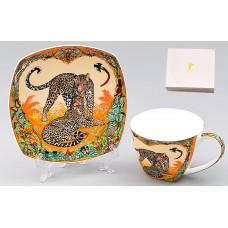 Кофейный набор фарфоровый: чашка 60мл с блюдцем Сафари