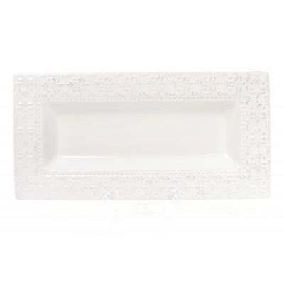 Блюдо керамическое прямоугольное Королевская лилия 35.6см, цвет - белый
