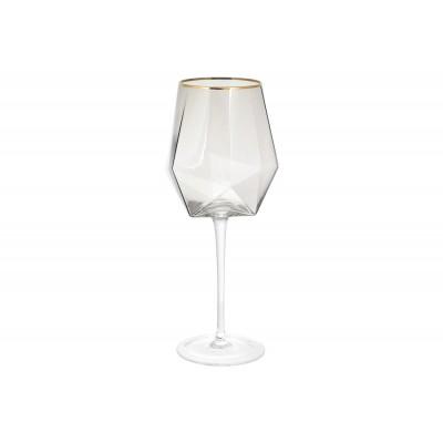 Бокал для красного вина с золотым кантом Clio, 670мл, цвет - дымчатый серый