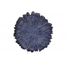 Сервировочная тарелка стеклянная, цвет - синий, 35см