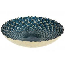 Салатник стеклянный 26см, цвет - синий с золотым узором