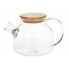 Заварочный чайник стеклянный с бамбуковой крышкой, 1л