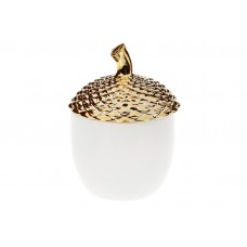 Банка фарфоровая Желудь, 300мл, цвет - белый с золотом