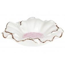 Декоративная подставка для украшений Цветок белый с розовой серединой, 13см
