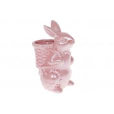 Кашпо декоративное Кролик с корзиной, 21см, цвет - розовый перламутр