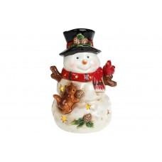 Декоративная музыкальная статуэтка Снеговик с LED-подсветкой 21,5см (2 режима - подсветка и подсветка с музыкой)