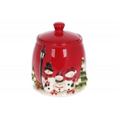 Банка керамическая для хранения 2.2л Трио снеговиков, цвет - красный
