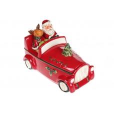 Банка для сладостей Санта в машине, 1.5л, цвет - красный