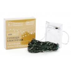 Гирлянда 100 мини-LED: 1 линия 10 метров, 100 диодов/ нить, цвет - тёплый белый, постоянное свечение, адаптер на 3AA батарейки, цвет провода - зеленый.