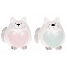 Копилка керамическая Котик, 13см, два цвета - розовый и мятный