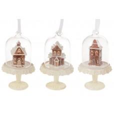 Подвесной декор Пряничный домик под стеклянным колпаком, 11.3см, 3 вида