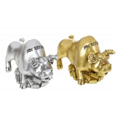 Декоративная копилка Бык, 13см, 2 вида - золото, серебро
