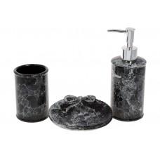 Набор для ванной (3 предмета) Черный мрамор: дозатор 350мл, стакан для зубных щеток 250мл, мыльница, цвет - черный мрамор