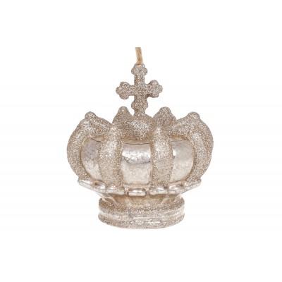 Елочное украшение Корона, 9см, цвет - шампань