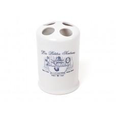 Стаканчик фарфоровый с делениями для зубных щеток 13.4см