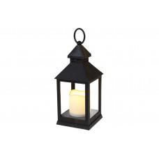 Декоративный фонарь 24см со свечкой с LED подсветкой (теплый белый мерцающий свет) на батарейках (3хААА - не входят в комплект), цвет - чёрный