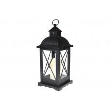 Декоративный фонарь 58см со свечкой с LED подсветкой (теплый желтый мерцающий свет) на батарейках (3xС - не входят в комплект), цвет - чёрный