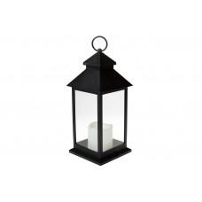 Декоративный фонарь 32см со свечкой с LED подсветкой (теплый белый свет) на батарейках (3хААА - не входят в комплект), цвет - чёрный