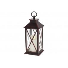 Декоративный фонарь со свечкой с LED подсветкой (теплый белый свет) на батарейках (3хААА - не входят в комплект), 31см, цвет - черный с медной патиной