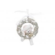 Декоративная подвесная фигурка Мишка в центре венка,10см, цвет - бело-серый