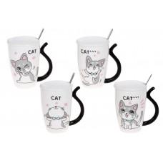 Заварник фарфоровый с крышкой и ложкой Funny Cats, 380мл, 4 дизайна