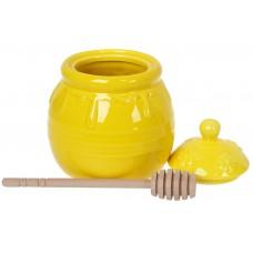Медовница керамическая с деревянной ложкой, 500мл , цвет  -желтый