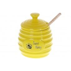 Медовница керамическая Пчёлки с деревянной ложкой , 450мл, цвет - желтый