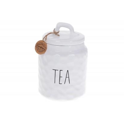 Банка керамическая для хранения Чай 1500мл Bianco, цвет - белый