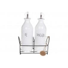 Набор для специй керамический Bianco на металической подставке: две бутылки для масла и уксуса, 600мл, 22см