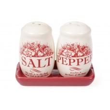 Набор для специй Английский Шиповник: солонка и перечница на керамической подставке