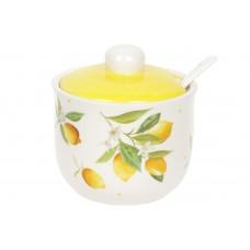 Сахарница керамическая 350мл с ложкой Сочные лимоны