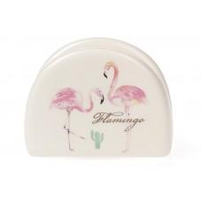 Салфетница керамическая 10см, Розовый Фламинго с золотой надписью