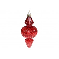 Елочное фигурное украшение с декором из глиттера, 15см, цвет - красный глянец