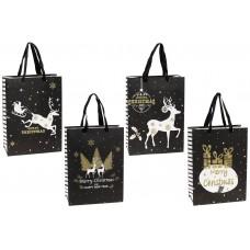 Пакет подарочный бумажный 24см Merry Christmas с глиттером, 4 дизайна, цвет - черный с белым