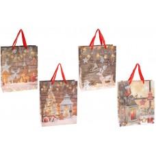 Пакет подарочный бумажный 32см Happy Holidays с глиттером, 4 дизайна