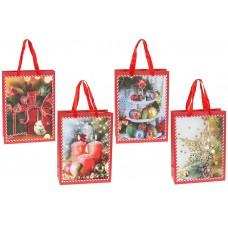 Пакет подарочный бумажный 24см Happy Holidays с глиттером, 4 дизайна, цвет - красный