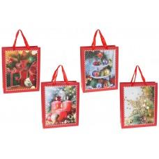 Пакет подарочный бумажный 32см Happy Holidays с глиттером, 4 дизайна, цвет - красный