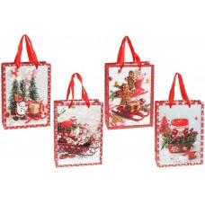 Пакет подарочный бумажный 24см Merry Holidays с объемным рисунком и глиттером, 4 дизайна, цвет - белый с красным