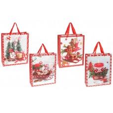 Пакет подарочный бумажный 32см Merry Holidays с объемным рисунком и глиттером, 4 дизайна, цвет - белый с красным