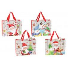 Пакет подарочный бумажный 24см Merry Santa с объемным рисунком и глиттером, 4 дизайна
