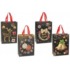 Пакет подарочный бумажный 24см Merry Christmas с объемным рисунком и глиттером, 4 дизайна, цвет - черный