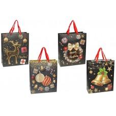 Пакет подарочный бумажный 32см Merry Christmas с объемным рисунком и глиттером, 4 дизайна, цвет - черный