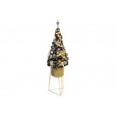 Декоративная композиция 123см из стеклянных и пластиковх шаров с LED гирляндой в металлическом кашпо