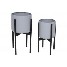 Набор металлических кашпо (2шт) на подставке, 38см и 46см, цвет - серый