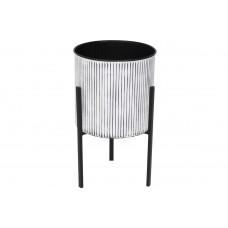 Металлическое кашпо на подставке 45см, цвет - белый в черную полоску