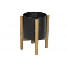 Металлическое кашпо на деревянной подставке 42см, цвет - черный