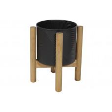 Металлическое кашпо на деревянной подставке 35см, цвет - черный