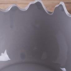 Кашпо, конфетница корзина в виде скорлупы от яйца серая